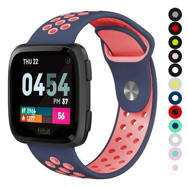 Marque 123watches Fitbit versa doppelt sport band - bleu foncé rose