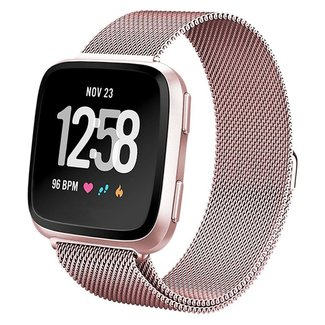 Marque 123watches Fitbit versa milanese band - rose rouge