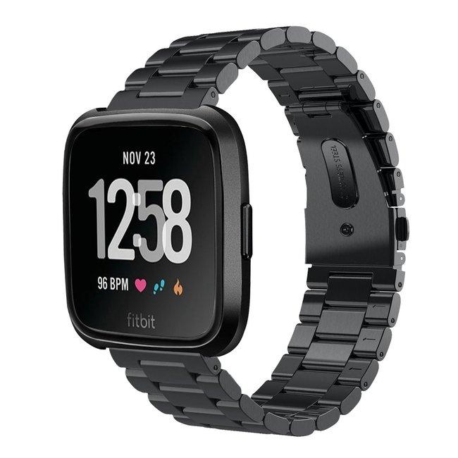 Marque 123watches Fitbit versa bande en acier 3 perles - noir