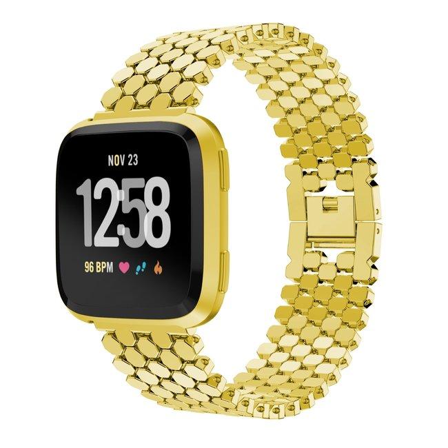 Marque 123watches Fitbit versa bande en acier à poisson  - or