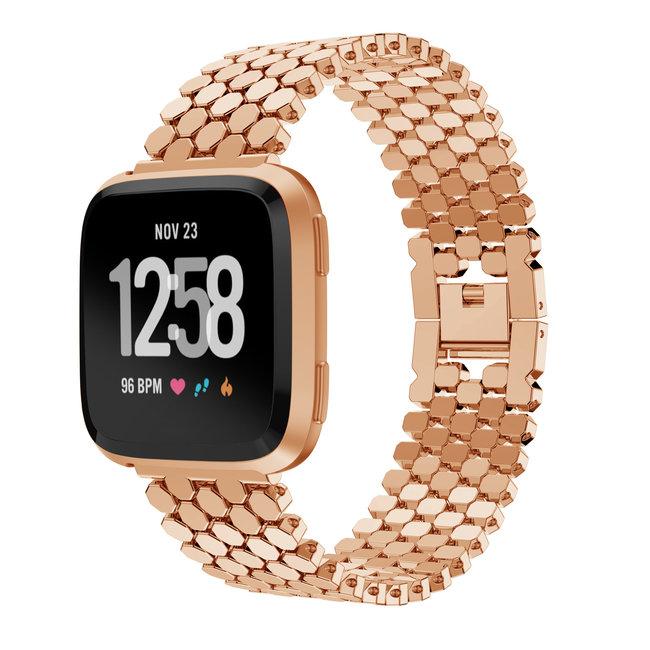 Marque 123watches Fitbit versa bande en acier à poisson  - or rose