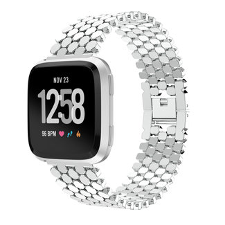 Marque 123watches Fitbit versa bande en acier à poisson  - d'argent