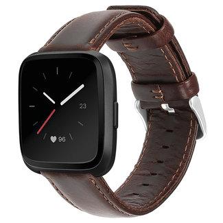 Marque 123watches Fitbit Versa bracelet en cuir véritable  - brun foncé