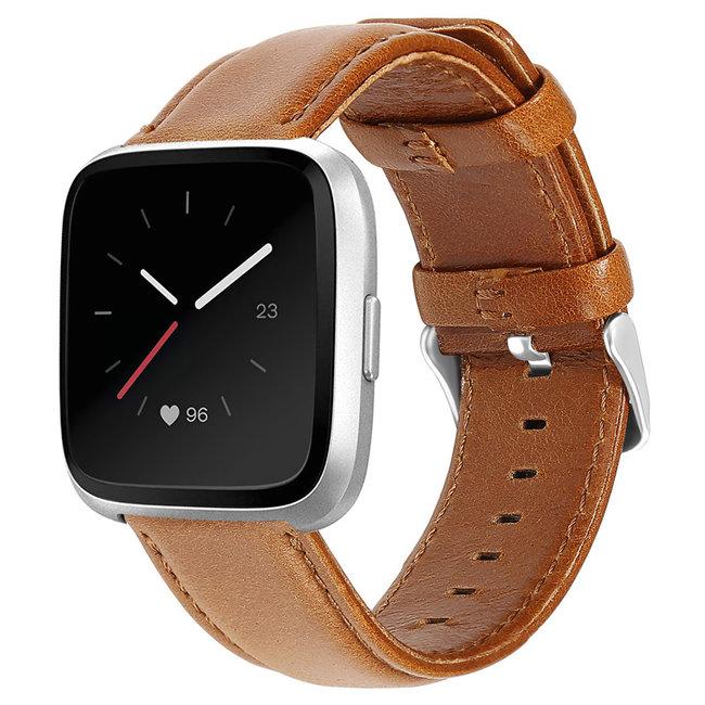 Fitbit Versa bracelet en cuir véritable  - marron clair