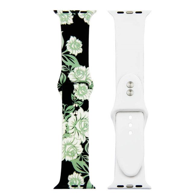 Marque 123watches Bracelet de sport imprimé Apple Watch - roses vertes