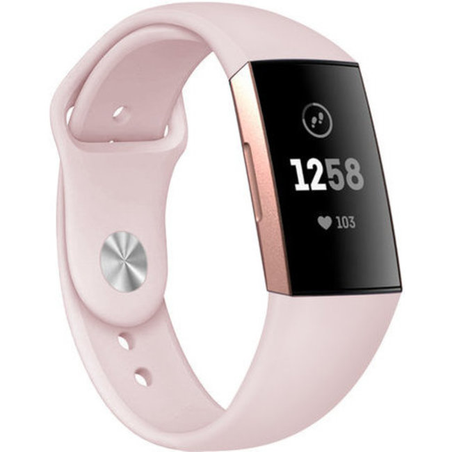 Marque 123watches Fitbit charge 3 & 4 sport silicone bande - sable rose