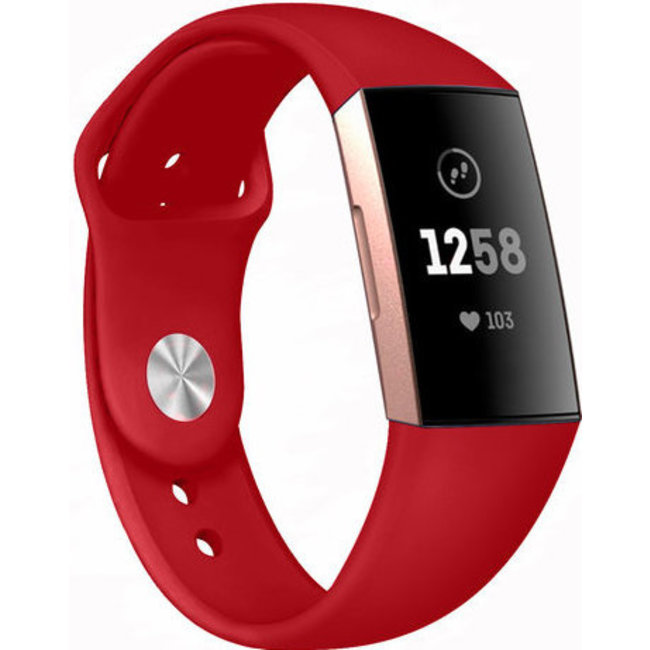 Marque 123watches Fitbit charge 3 & 4 sport silicone bande - rouge