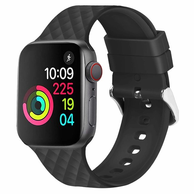 Marque 123watches Apple watch rhombic silicone band - noir