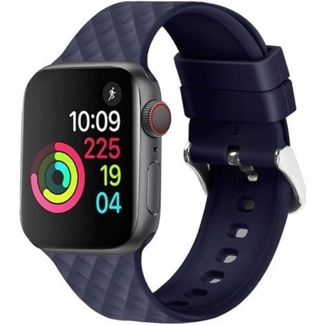 Marque 123watches Apple watch rhombic silicone band - bleu marine