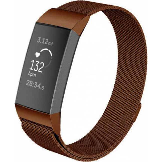 Marque 123watches Fitbit charge 3 & 4 milanese band - marron