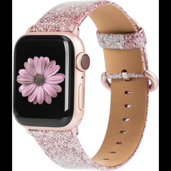 Apple watch cuir paillettes bande - rose