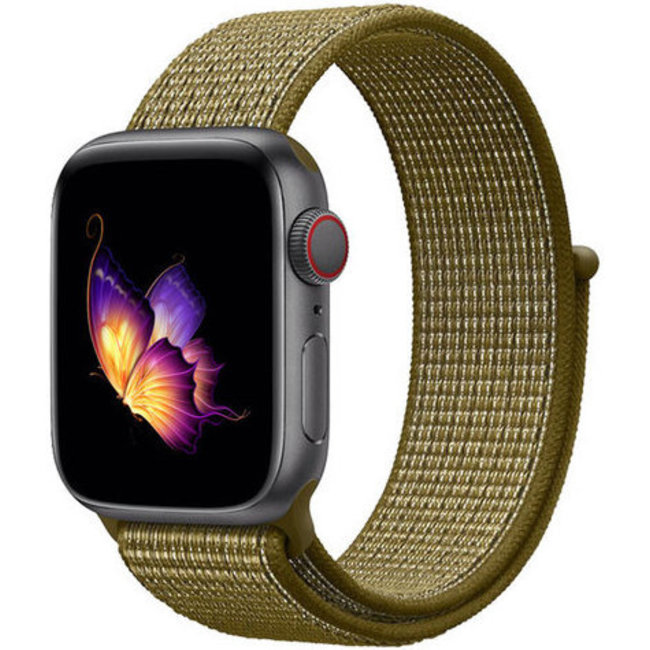 Marque 123watches Apple watch nylon sport loop band - flak d'olive