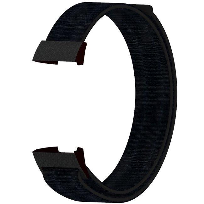 Marque 123watches Fitbit charge 3 & 4 nylon sport band - noir foncé