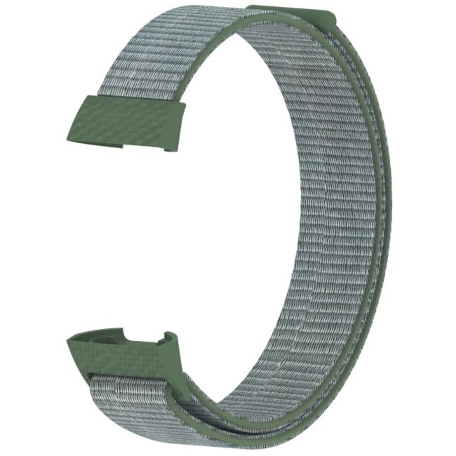 Marque 123watches Fitbit charge 3 & 4 nylon sport band - olive foncé