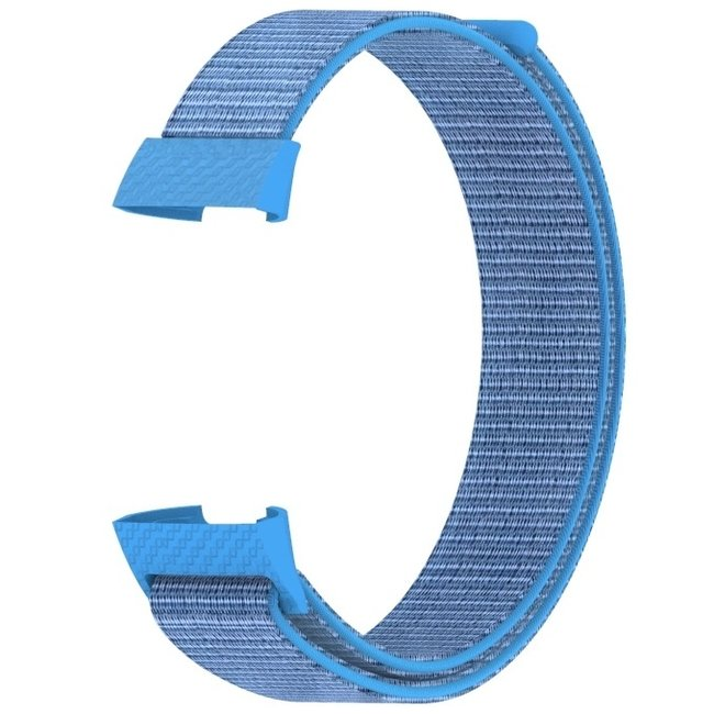 Marque 123watches Fitbit charge 3 & 4 nylon sport band - lac bleu