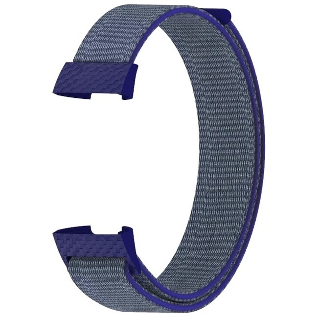 Marque 123watches Fitbit charge 3 & 4 nylon sport band - bleu nuit