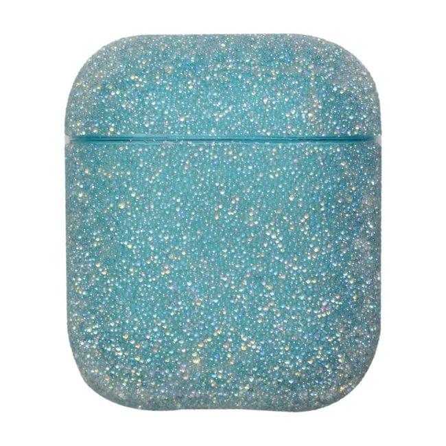 Coque Apple AirPods 1 & 2 pailleté étui rigide - bleu
