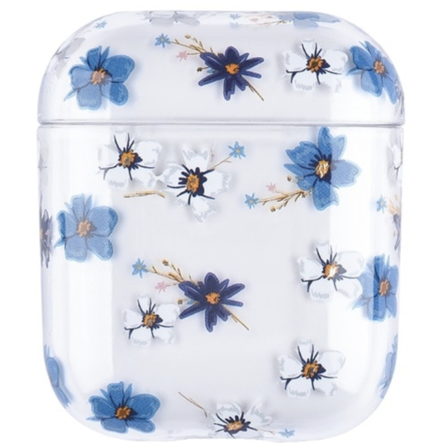Coque Rigide Amusante Transparente pour Apple AirPods 1 & 2 - fleur bleue