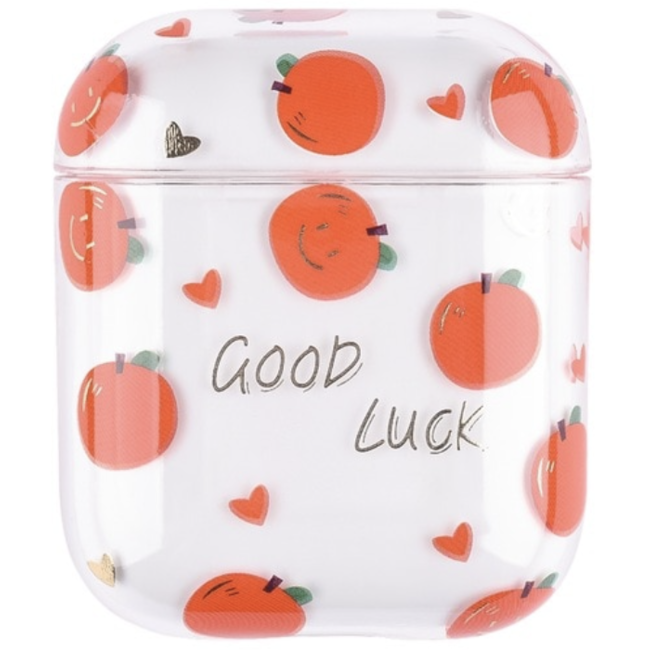 Coque Rigide Amusante Transparente pour Apple AirPods 1 & 2 - Orange
