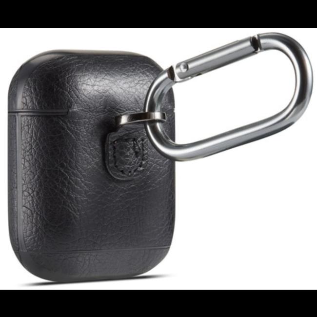 Housse en cuir solide Apple AirPods 1 & 2 - noir