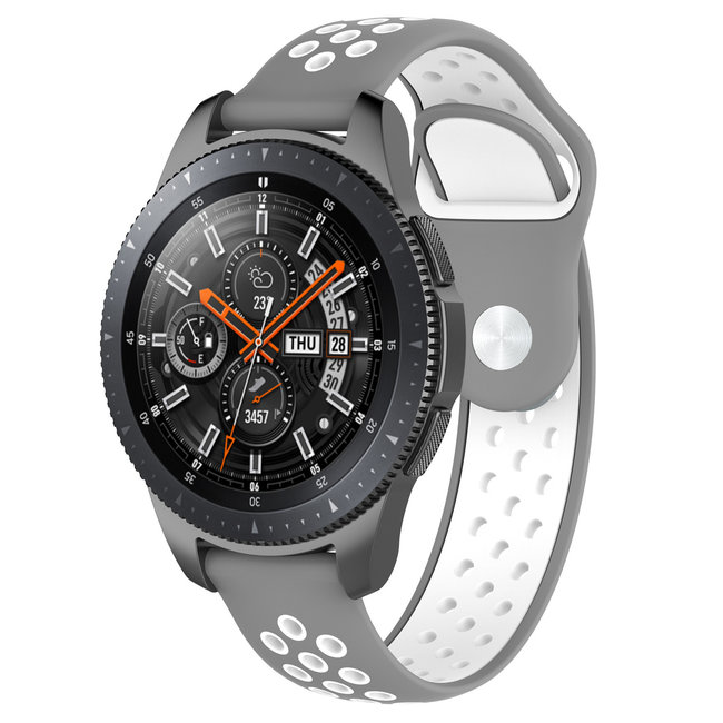 Marque 123watches Samsung Galaxy Watch double bande en silicone - gris blanc