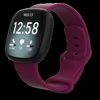 Marque 123watches Fitbit Versa 3 / Sense sport sangle - vin rouge
