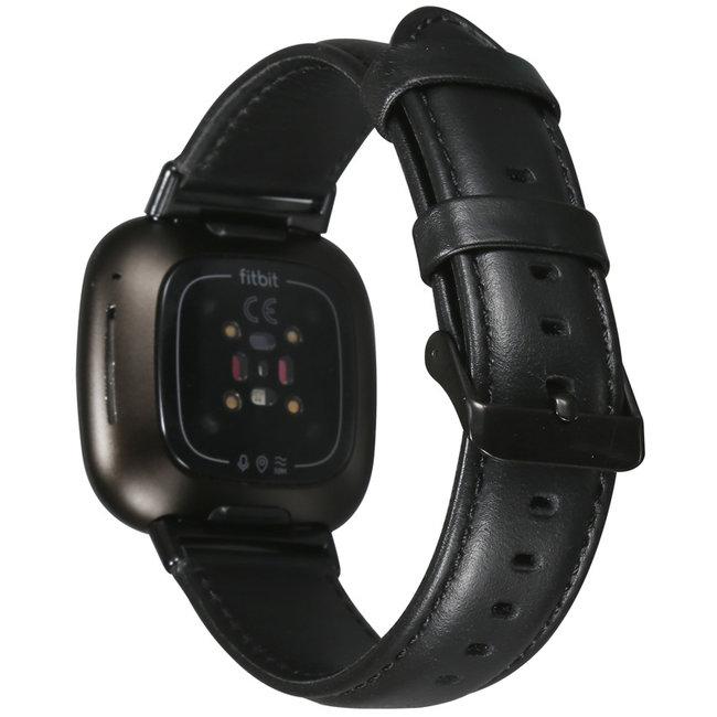 Marque 123watches Fitbit Versa 3 / Sense bracelet en cuir véritable  - noir