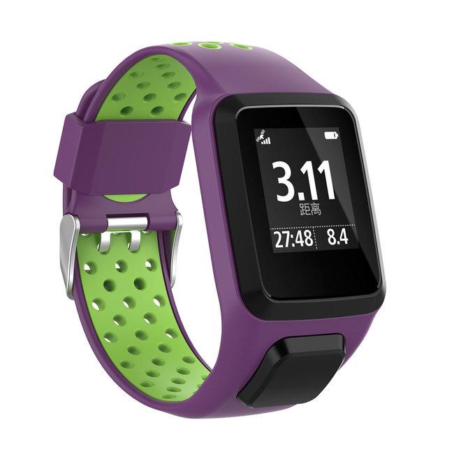 Bracelet en silicone à double boucle TomTom Runner / Spark / Adventure - violet vert