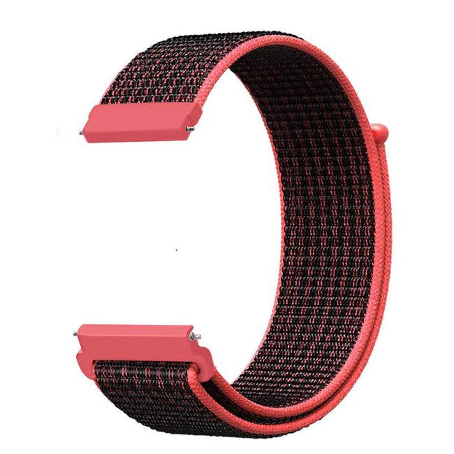 Marque 123watches Bracelet Sport en Nylon pour Garmin Vivoactive / Vivomove - rouge noir