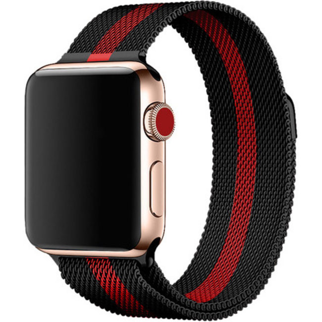 Marque 123watches Apple watch milanese band - rayé noir rouge