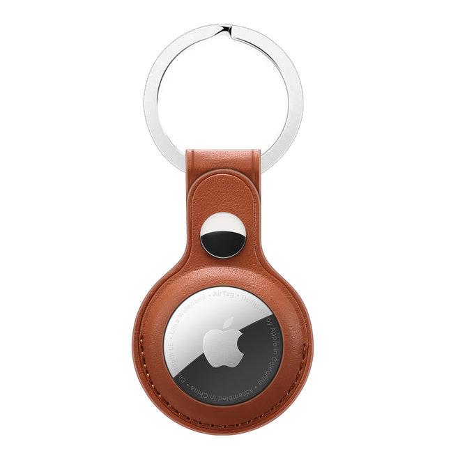 AirTag PU cuir porte-clés - marron