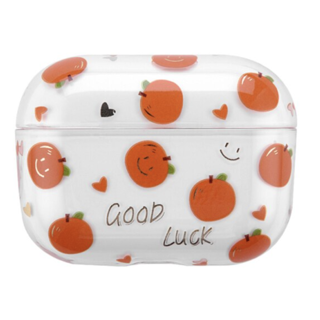 Coque Rigide Amusante Transparente pour Apple AirPods Pro - Orange