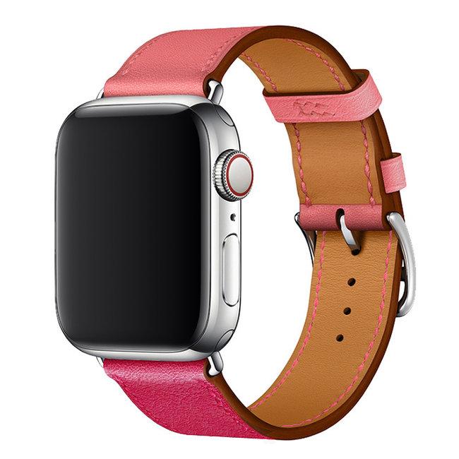 Apple watch cuir chanter tour - rose rouge