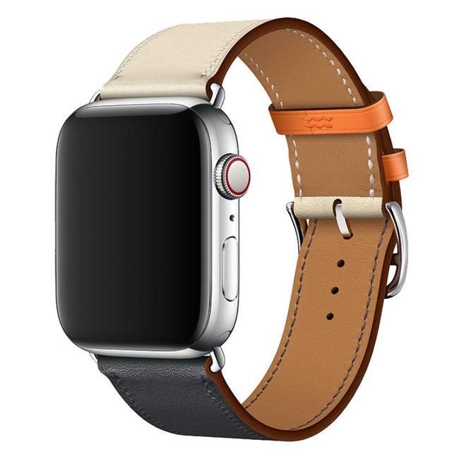 Apple watch cuir chanter tour - blanc bleu