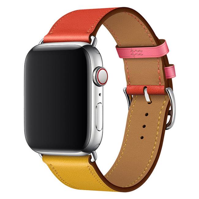 Apple watch cuir chanter tour - rouge jaune