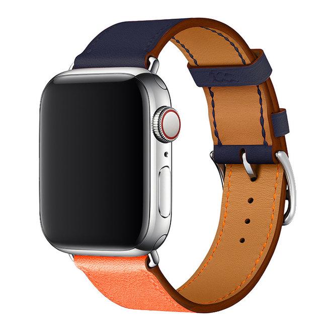 Apple watch cuir chanter tour - bleu orange