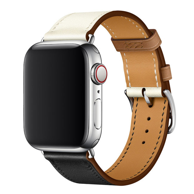 Apple watch cuir chanter tour - noir et blanc