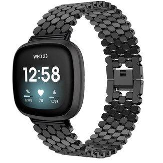 Marque 123watches Fitbit Versa 3 /  Sense Bracelet à maillons en acier poisson - noir