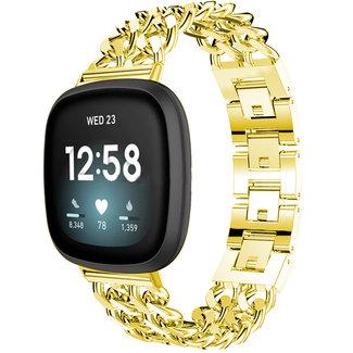 Marque 123watches Fitbit Versa 3 / Sense  Bracelet à maillons en acier cowboy - or