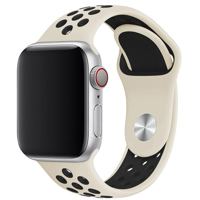 Marque 123watches Apple Watch double sport sangle - antique blanc noir