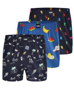 "Happy Shorts 3-Pack Wijde Boxershorts ""Sweets & Fruits"""