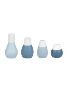 Räder Räder -  Mini Pastel Blauwe vaasjes set van 4 stuks - Ø 4cm en hoogte 4,5-8cm