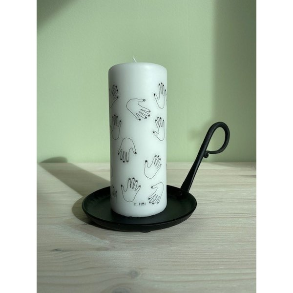 Rustik Lys Rustik Lys - Stompkaars zwart wit High five by Kimmi - 6x15cm