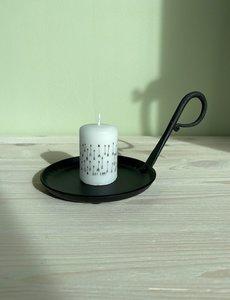 Rustik Lys Rustik Lys - Stompkaars zwart wit Arrow by Kimmi - 4x6cm