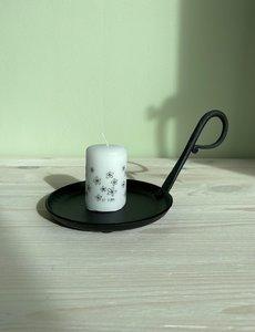 Rustik Lys Rustik Lys - Stompkaars zwart wit Flowers by Kimmi - 4x6cm