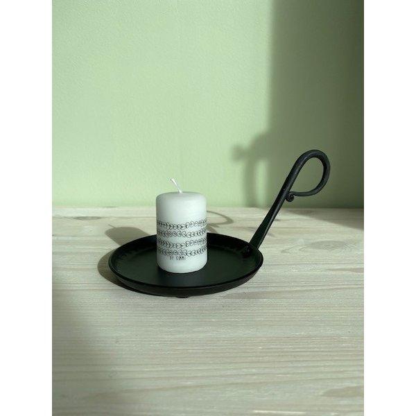 Rustik Lys Rustik Lys - Stompkaars zwart wit Ivy by Kimmi - 4x6cm