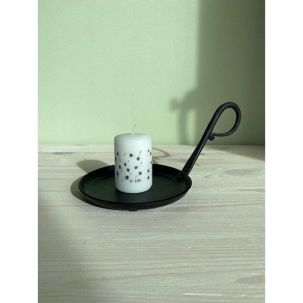 Rustik Lys Rustik Lys - Stompkaars zwart wit Wish by Kimmi - 4x6cm