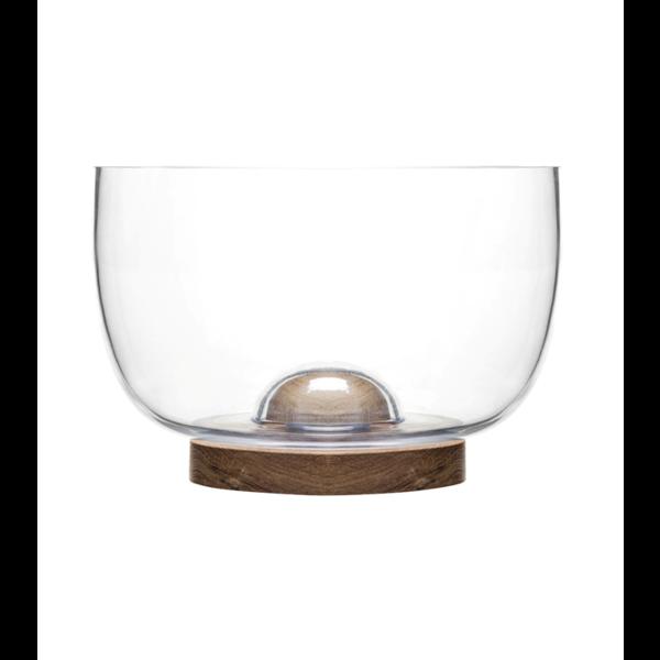 Sagaform Sagaform - Nature- Glazen serveerschaal - Large, met afneembare eiken bodem