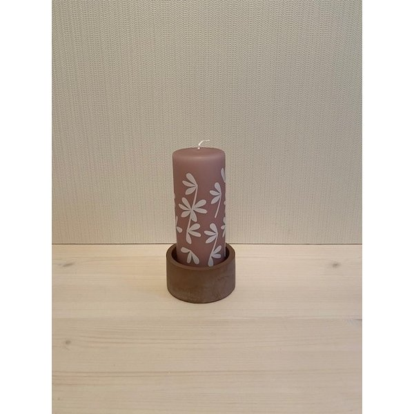 Rustik Lys Rustik Lys - Stompkaars Lucky Leaves Oud Roze by Kimmi - 6x15cm