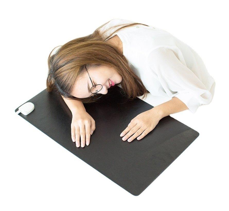 De verwarmde bureau-onderlegger zwart 80 x 40 cm vermogen instelbaar